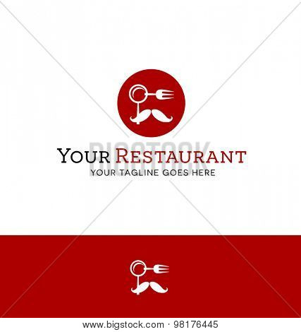 logo design for restaurant with abstract face