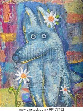 Surprised Little Wolf With Daisy On Abstract Colored Background.