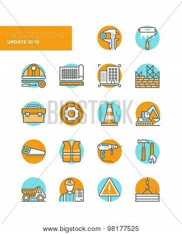 Building Construction Line Icons