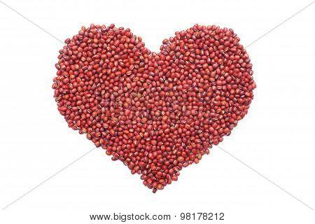 Red Adzuki Beans In A Heart Shape