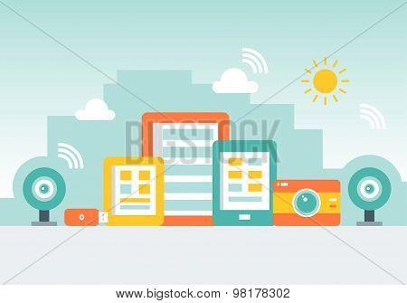 Gadget City Made of Cellphones, Tab, Cameras and Memory Sticks.