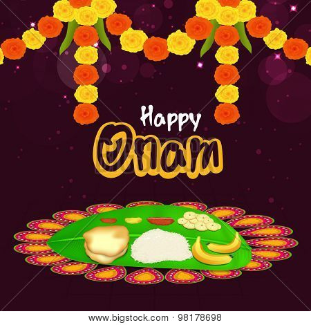 Atham flower images illustrations vectors atham flower stock beautiful colourful rangoli for onam wishes and traditional food with stylish text of happy onam for m4hsunfo Images