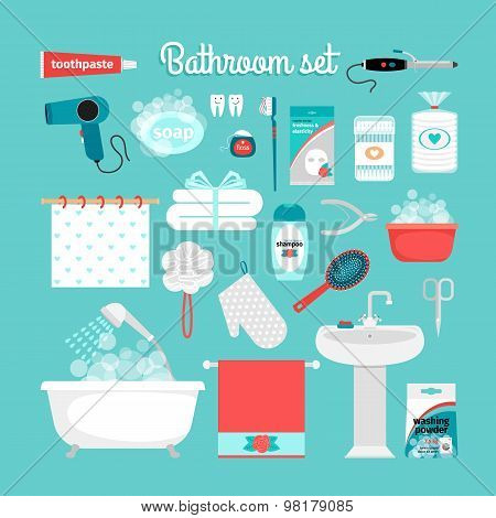 Big set of objects from the bathroom