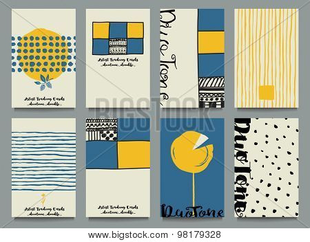 Artist Trading Cards - Blue and yellow artist trading cards, hand drawn with doodle elements, calligraphy and complementary or opposite colors, along with black and white