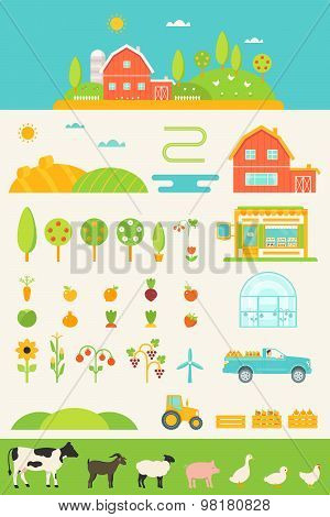 Agriculture and Farming Infographics Elements Set