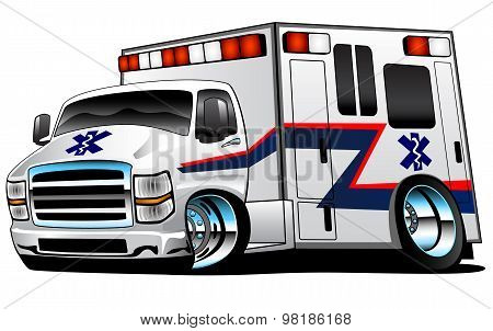 White Paramedic EMS ambulance truck, bold colors, big rims, lots of chrome and fast. poster