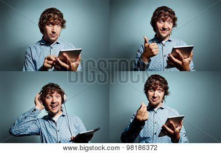 Group Collage Of Portrait Handsome Young Smiling Hipsters With Tablet Pc At Grey Background. Positiv