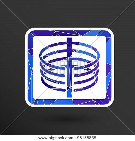 Medical icon x-ray of human thorax. Anatomy skeleton