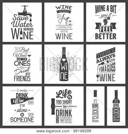 Set of vintage wine typographic quotes