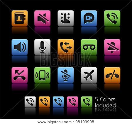 Phone Calls Interface Icons // ColorBox Series ---- The Vector file includes 5 color versions for each icon in different layers --