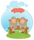 Cartoon sheep with umbrella in the rain. Beautiful illustration poster