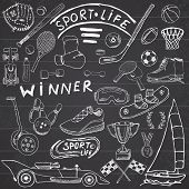 Sport life sketch doodles elements. Hand drawn set with baseball bat glove bowling hockey tennis items race car cup medal boxing winter sports. Drawing collection on chalkboard background. poster