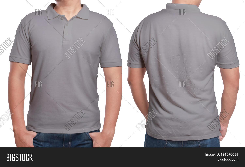 Gray Polo T-shirt Mock Front Back Image & Photo | Bigstock