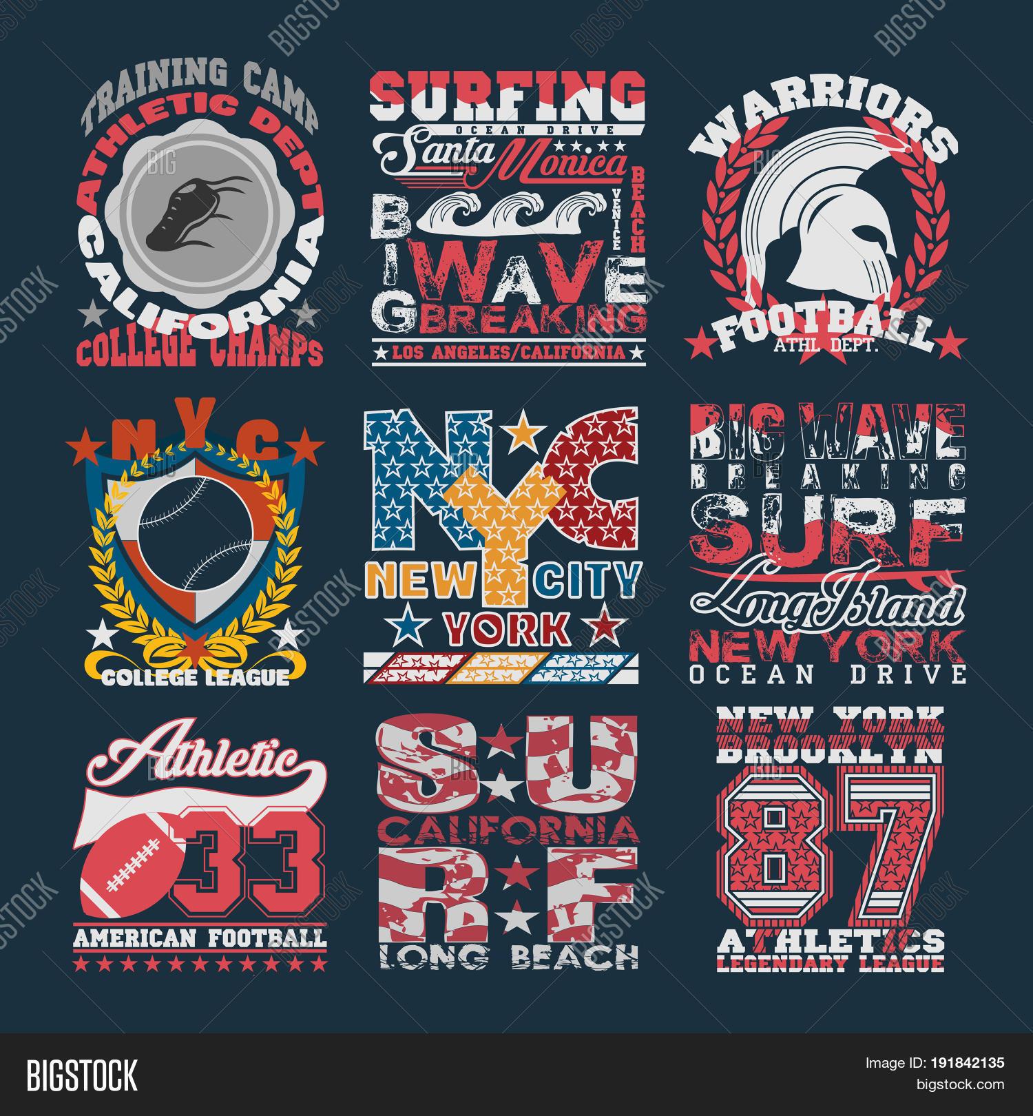 ce8f8f9d3 Sport Typography Graphics emblem set T-shirt Printing Designs. Athletic  original Vintage Prints for
