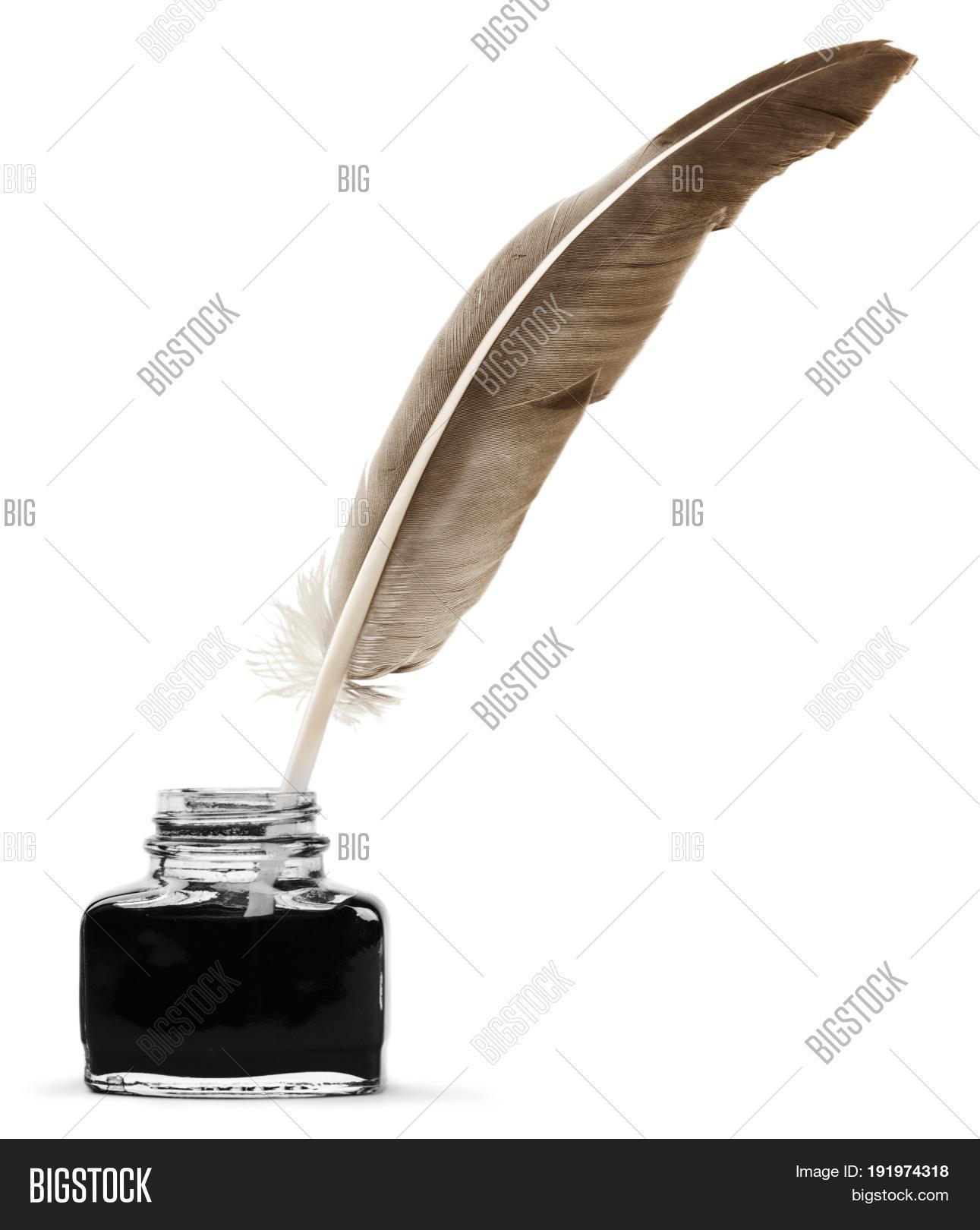 [Black] Vintage Feather Pen Fountain Pen Feather Ink Pen Creative Gift