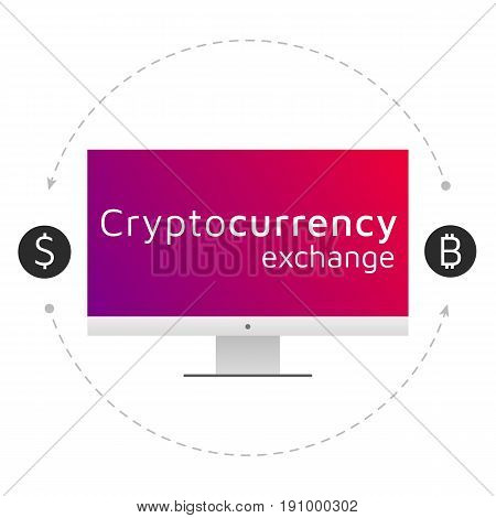 Bitcoin and dollar logo. Cryptocurrency exchange. Editable eps10 Vector. Transparent background.