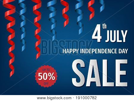 4Th Of  July  Sale Banner  With Festive Twisted Ribbons.