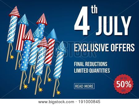 4Th Of  July  Exclusive  Offers  Banner  With  Firework  Rockets.