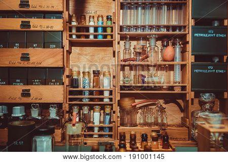 Vintage glass bottles, small mini labolatory, closeup