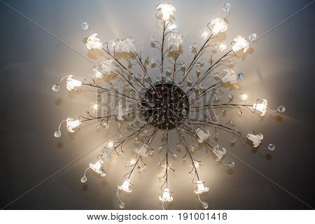 Chandelier ceiling with globe light. Intererniy light indoor. Lamp for large spaces.