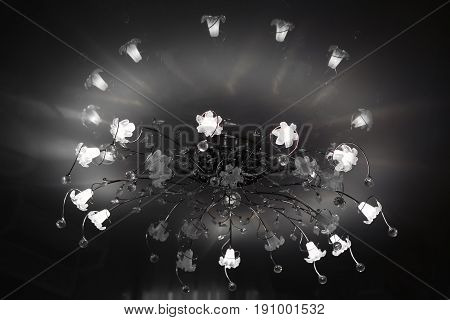 Chandelier ceiling with a globe. Intererniy light indoor - lamp for large spaces.