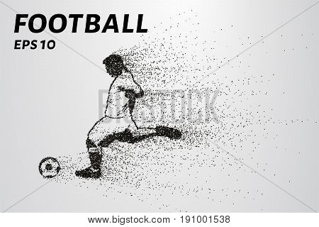 Football Of The Particles. Silhouette Of A Football Player Consists Of Circles And Points. Vector Il