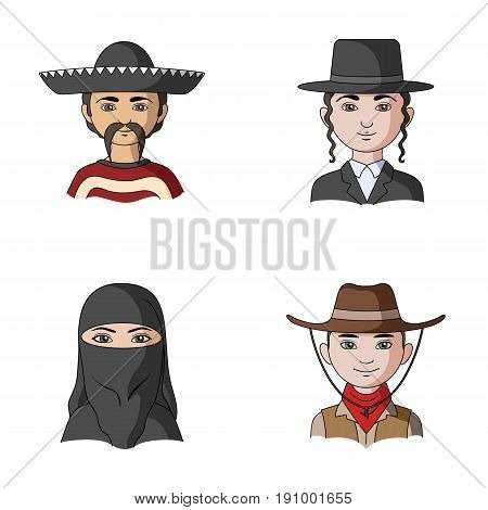 A mexican, a jew, a woman from the middle east, an american. The human race set collection icons in cartoon style vector symbol stock illustration .