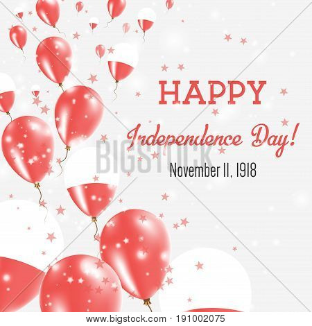Poland Independence Day Greeting Card. Flying Balloons In Poland National Colors. Happy Independence