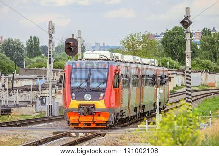 BELGOROD RUSSIA - JUNE 12 2017: Suburban rail bus RA2 on the rail road. Diesel train of Russian railways (RZD).