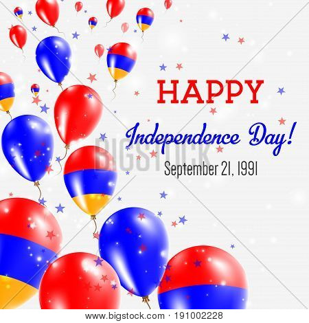Armenia Independence Day Greeting Card. Flying Balloons In Armenia National Colors. Happy Independen
