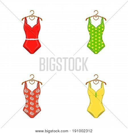Different kinds of swimsuits. Swimsuits set collection icons in cartoon style vector symbol stock illustration .