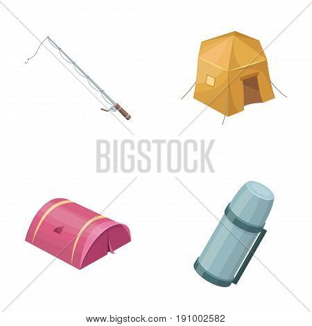 Spinning for fishing, tent, thermos.Tent set collection icons in cartoon style vector symbol stock illustration .