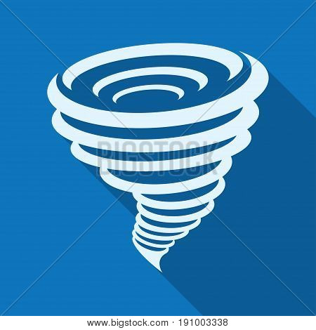 Tornado icon. Vector illustration isolated on a blue background with a long shadow