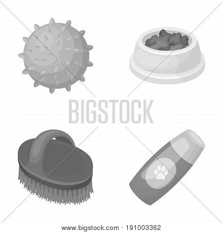 The ball, feed, shampoo and other zoo store products. Pet shop set collection icons in monochrome style vector symbol stock illustration web.