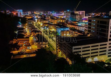 Kota Kinabalu,Sabah-May 29,2017:Kota Kinabalu city night view on 29th May 2017 in Kota Kinabalu,Sabah, Malaysia. Kota Kinabalu City is hub for islands,resorts,award winning sunsets & Mount Kinabalu