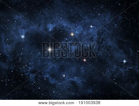 Blue nebulae are looming in outer space