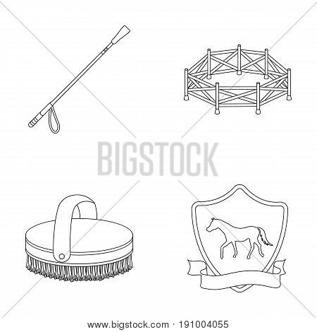Aviary, whip, emblem, hippodrome .Hippodrome and horse set collection icons in outline style vector symbol stock illustration .
