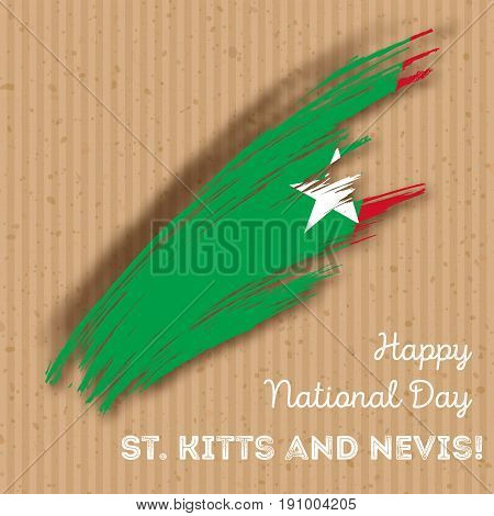 St. Kitts And Nevis Independence Day Patriotic Design. Expressive Brush Stroke In National Flag Colo