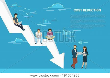Business cost reduction concept illustration of business team sitting on the big arrow. Flat people working with laptops to develop project and reduce risks and price. Blue background with copy space
