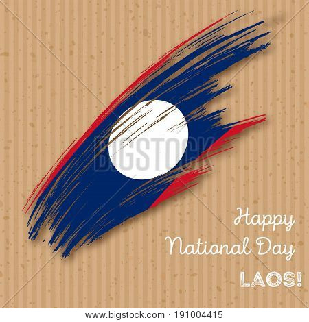 Laos Independence Day Patriotic Design. Expressive Brush Stroke In National Flag Colors On Kraft Pap
