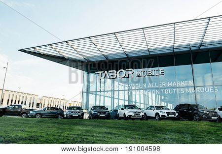 RASTATT GERMANY - APR 13 2017: German car auto dealer Tabor in central Kehl with multiple Audi Wolkswagen BMW Mercedes-Benz and other brands for sale