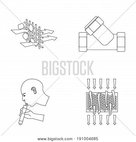Man, bald, head, hand .Water filtration system set collection icons in outline style vector symbol stock illustration .