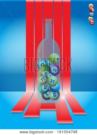 Bingo Lottery Balls in a Glass Bottle Over Red Stripes and Blue Background