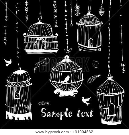 Birdcage print.The bird in the cage. Template greeting card or invitation with heart in birdcage
