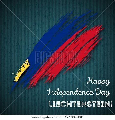 Liechtenstein Independence Day Patriotic Design. Expressive Brush Stroke In National Flag Colors On