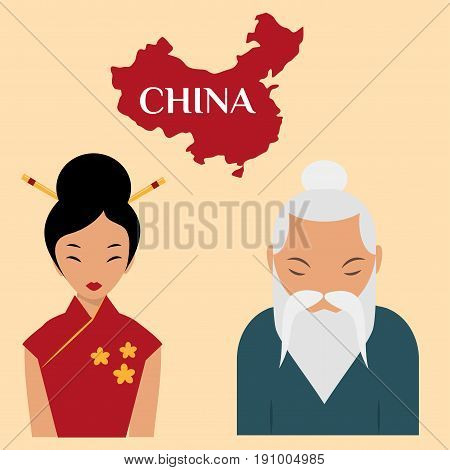 Chinese sensei old man asian elderly portrait woman person retired grandfather vector illustration. Adult retirement smile father oriental traditional guy character.