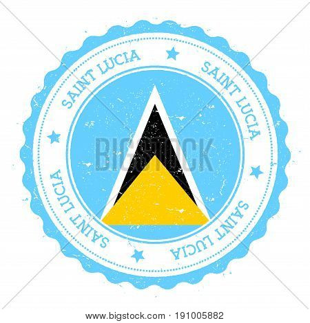 Saint Lucia Flag Badge. Vintage Travel Stamp With Circular Text, Stars And Island Flag Inside It. Ve
