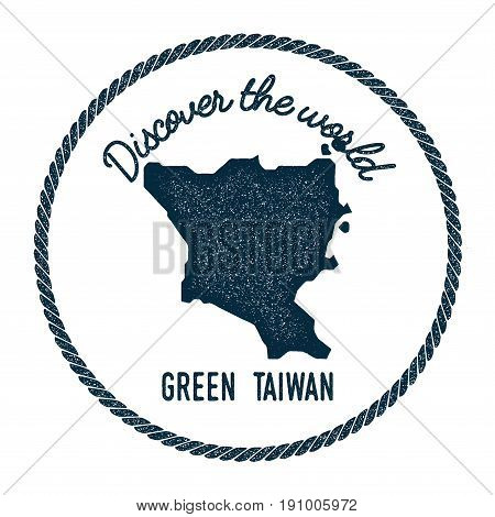 Green Island, Taiwan Map In Vintage Discover The World Insignia. Hipster Style Nautical Postage Stam