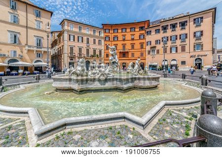 ROME ITALY - JUNE 12017: Piazza Navona Neptune Fountain in Rome Italy