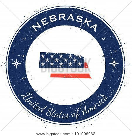 Nebraska Circular Patriotic Badge. Grunge Rubber Stamp With Usa State Flag, Map And The Nebraska Wri